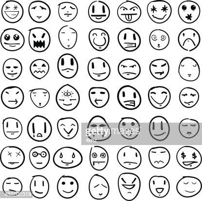 Doodle faces design element set vector art getty images for Doodle art faces