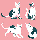 Doodle funny cute hand drawn cat and kitten isolated on background. Vector illustration.