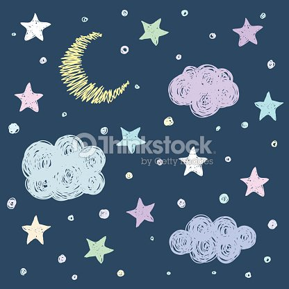 Doodle Good Night Card Background Template With Stars Moon Clouds
