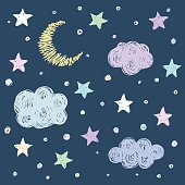 Doodle good night card background template with stars, moon and clouds. Hand drawn simple graphic cover for design. Funny cartoon illustration.