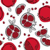 Garnet fruit hand drawn seamless pattern. Vector illustration.