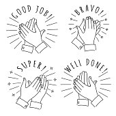 Doodle hands claps. Hand drawn applauding clapping hands isolated on white background, winner applause sketch vector illustration