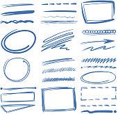 Doodle highlighter vector elements, sketch circles, hand drawn underline, pencil marks. Sketch drawing scribble elements illustration