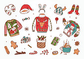 Ugly Christmas Sweater Party. Hand Drawn Doodle Holiday set: Christmas festive knitted clothes, gifts boxes, sweets, gingerbread cookies, mulled wine, spice. Vector Xmas Invitation Card Template