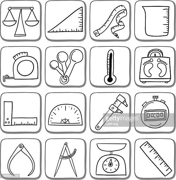 Doodle measurement icon set in black and white