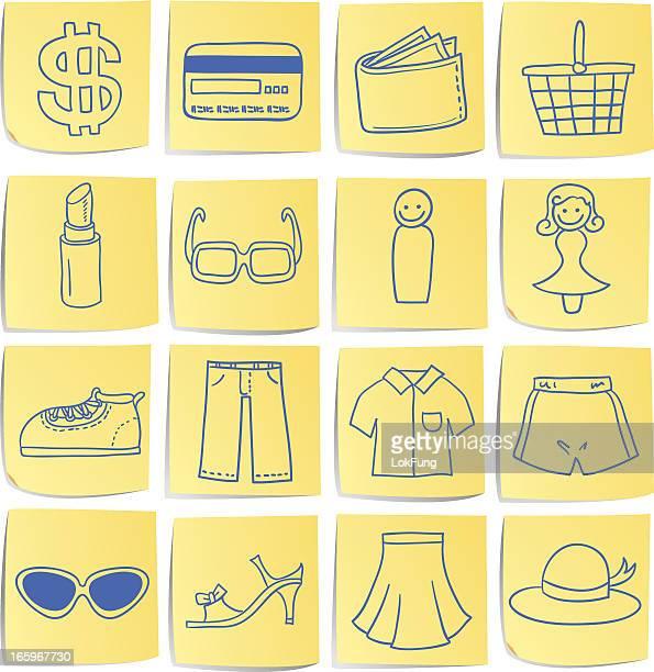 Doodle memo icon set - department store