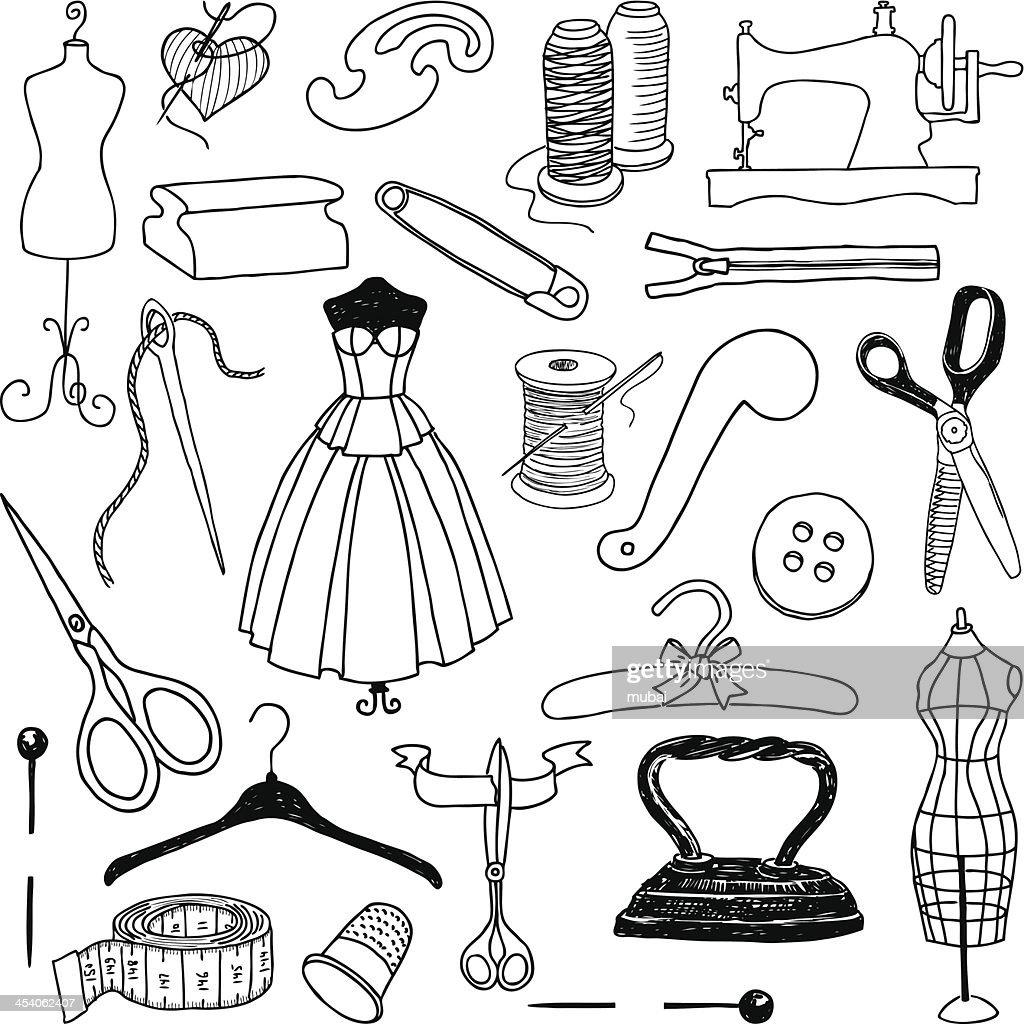 Petits dessins gribouillis griffonnages de couture clipart - Dessin de couture ...