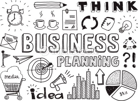 Doodle On Ideas Related To Business Planning stock vector