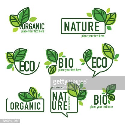 doodle organic leaves emblems : Vector Art