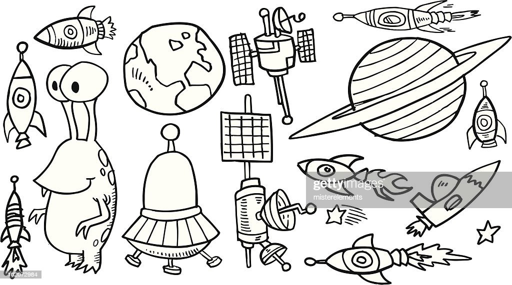 Doodle Outer Space Set Vector Art