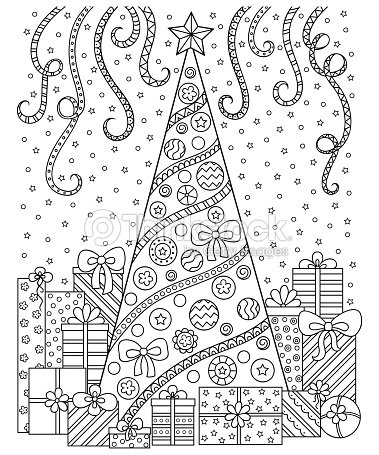 Doodle Pattern In Black And White Christmas Tree Gifts Snow