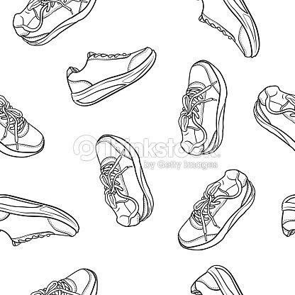 Contour Dessin Motif Doodle Animé Avec Chaussures Basket Uniforme CedxBWor