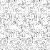 Seamless pattern of hand drawn man and woman clothes and accessories elements