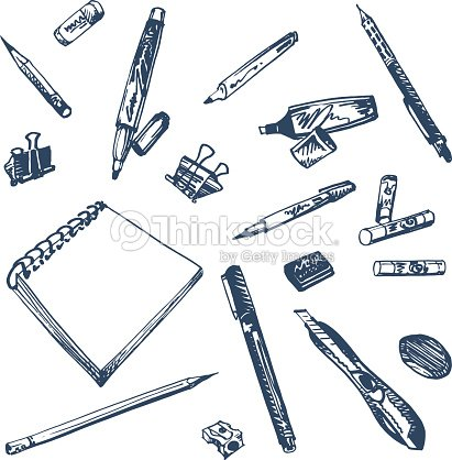 Doodle set of art supplies drawing hand drawn illustration vector art