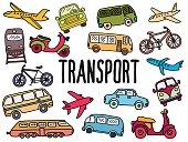 hand drawn collection of passenger transport, vector illustration