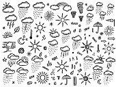 collection of hand drawn doodle weather icons