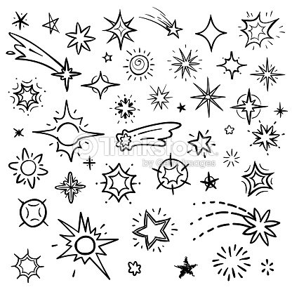 Doodle stars vector set isolated on white. Hand drawn sky with star and comets collection : stock vector
