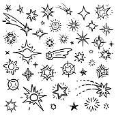 Doodle stars vector set isolated on white. Hand drawn sky with star and comets collection. Sketch drawn star, doodle comet and meteor illustration