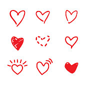 Hand drawn red hearts