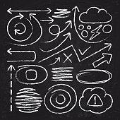Doodle white arrows and chalk design stroke scribble elements. Sketch circle, line, round borders vector set. Chalk doodle drawing, sketch blackboard handmade sketched illustration