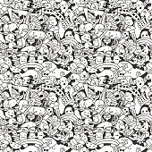 Vector. Crazy doodle characters. Seamless pattern.