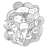 Vector doodle illustration with ice cream, fruits and waves. Summer pattern for coloring book or design print. Possibility to easily change colors.