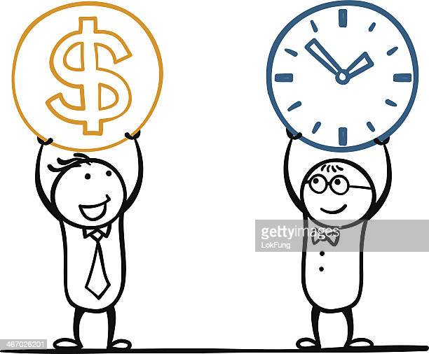Doodles of two guys holding up a clock and money
