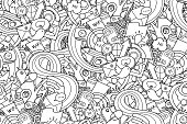 Technology objects with doodle wave for coloring and design. Easy to change colors. Vector illustration.
