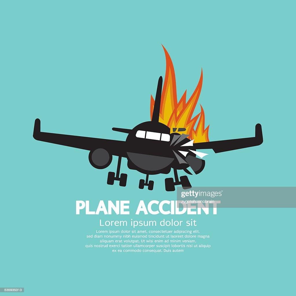 Doomed Plane Accident On Fire : Vector Art