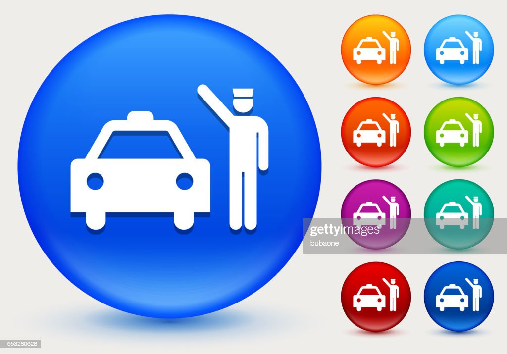 Doorman and Taxi Icon on Shiny Color Circle Buttons : Vector Art