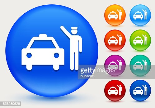 Doorman and Taxi Icon on Shiny Color Circle Buttons : Vectorkunst
