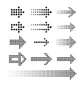 Set of dotted arrows. Collection of digital pointers for led display. Vector illustration