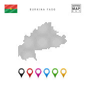 Dots Pattern Map of Burkina Faso. Stylized Simple Silhouette of Burkina Faso. The National Flag of Burkina Faso. Set of Multicolored Map Markers. Vector Illustration Isolated on White Background.