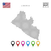 Dots Pattern Map of Liberia. Stylized Simple Silhouette of Liberia. The National Flag of Liberia. Set of Multicolored Map Markers. Vector Illustration Isolated on White Background.
