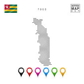 Dots Pattern Map of Togo. Stylized Simple Silhouette of Togo. The National Flag of Togo. Set of Multicolored Map Markers. Vector Illustration Isolated on White Background.