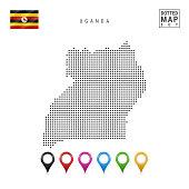 Dots Pattern Map of Uganda. Stylized Simple Silhouette of Uganda. The National Flag of Uganda. Set of Multicolored Map Markers. Vector Illustration Isolated on White Background.