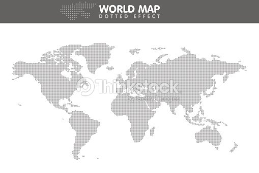 Dotted Gray World Map Small Dot Vector Illustration Vector Art ...