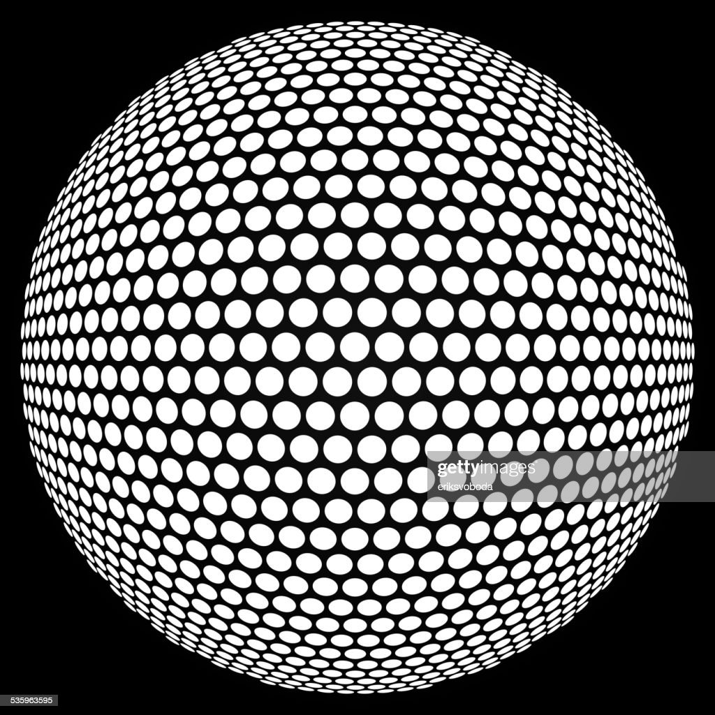 Dotted halftone sphere. : Vector Art