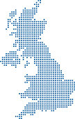 This abstract dotted UK map is accurately prepared using the overlaid vector map of the UK with highly detailed information. The map is prepared by a GIS and remote sensing specialist.