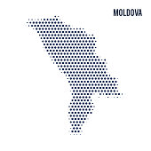 Dotted map of Moldova isolated on white background. Vector illustration.