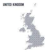 Dotted map of United Kingdom isolated on white background. Vector illustration.