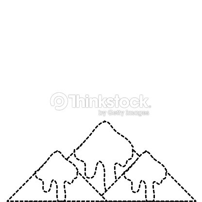 Dotted shape natural snowy mountain and cold weather