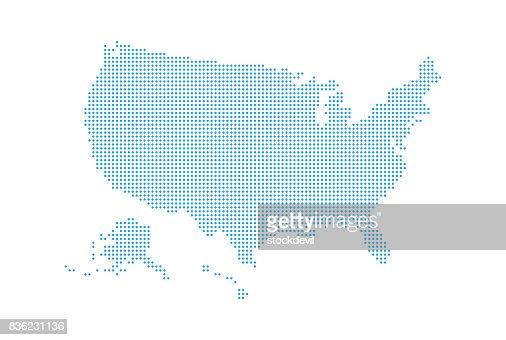 Gepunktete Stil Karte von USA und weißen Hintergrund : Vektorgrafik