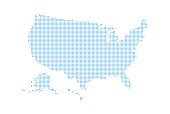 Dotted style map of USA and white background .