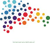 dotted texture Dominican Republic vector rainbow colorful background