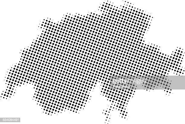 Dotted vector map of Switzerland