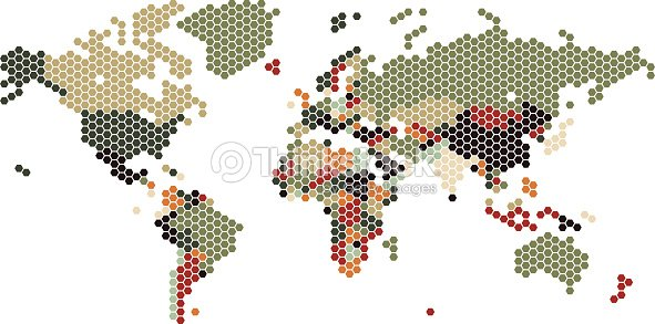 Dotted world map of hexagonal dots vector art thinkstock dotted world map of hexagonal dots vector art gumiabroncs Gallery
