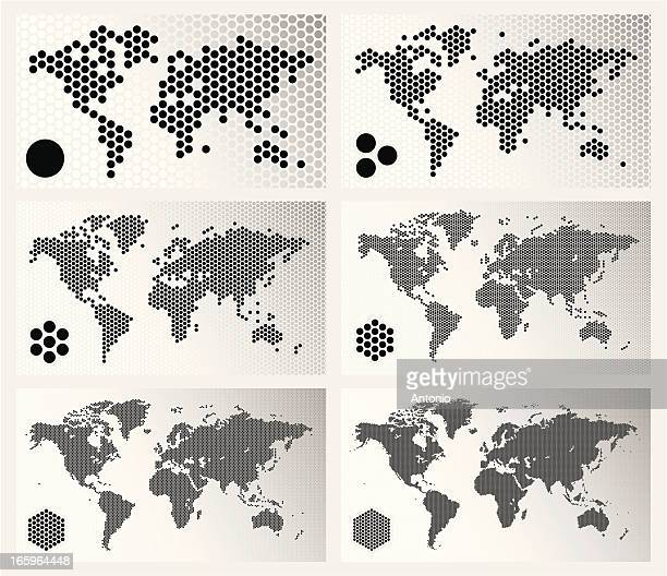 Dotted world maps in different resolutions