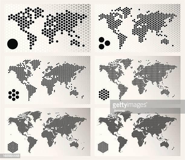 Gepunktete world Karten in verschiedenen Entschließungen