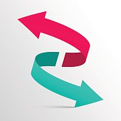Double 3d Arrow Symbol in Pink and Blue Colors